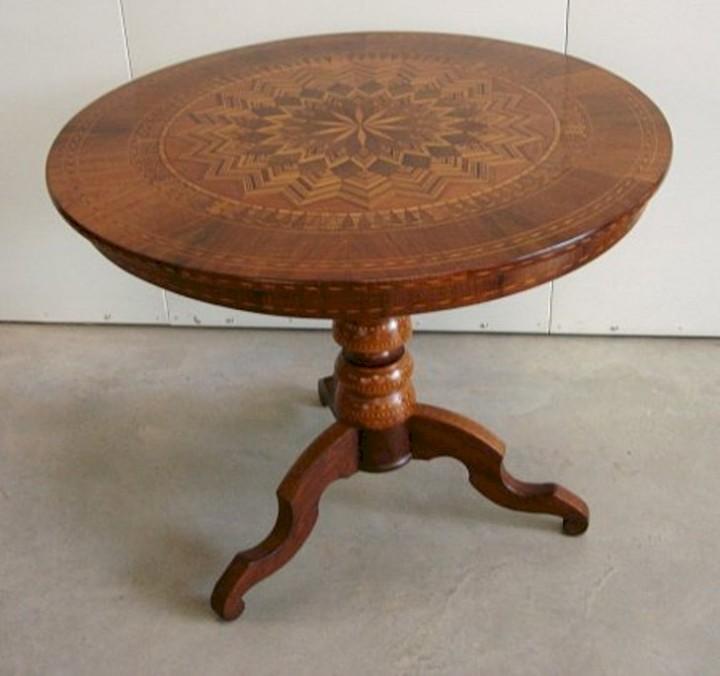 Tavolino Rolino Intarsiato Rotondo Seconda Meta 1800 Antiquariein